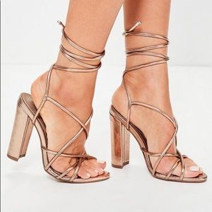 MISSGUIDED LACE UP ROSE GOLD HEELS